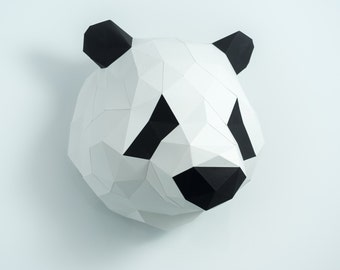 Pre-cut and Pre-scored Panda Head Kit - Low Poly Animal Head