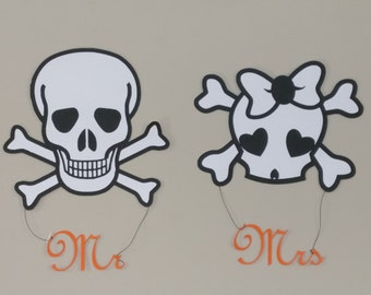Halloween Wedding - Mr. and Mrs. - Chair Sign - Halloween Wedding Decorations - Bride and Groom Skulls - Mr. and Mrs. Skulls