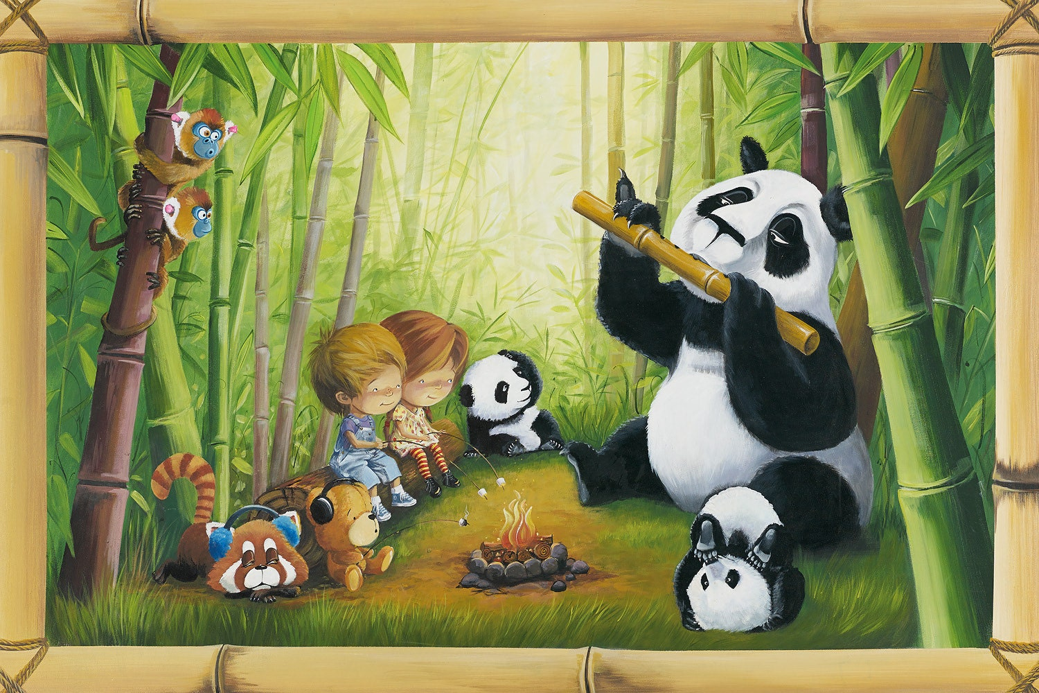 Panda flute player childrens wall mural art amipublicfo Image collections