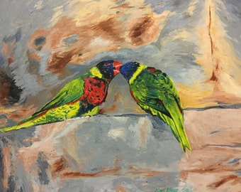 Bird kiss, original acrylic painting, 14x18inches, acrylic painting of bird,green,red,yellow,brown