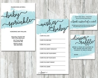 Blue Boy Baby Sprinkle Printables, Baby Shower Invitation, Wishes for Baby, Book Request, Diaper Raffle Card, Minimal Baby Shower Invite