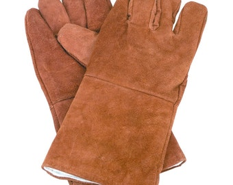 Safety Welding Gloves metalworking made from leather and have a comfortable flannel inside lining