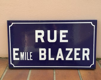 Old French Street Enameled Sign Plaque - blazer
