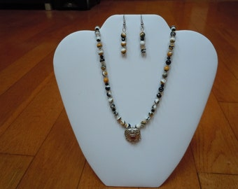 Orange Black White Agate with Sterling Silver