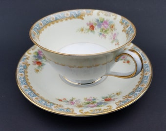 Vintage~ Occupied Japan~Noritake Footed Tea Cup and Saucer~1940's~Rose Floral Spray~Blue Rim Scroll~Gold Gilt