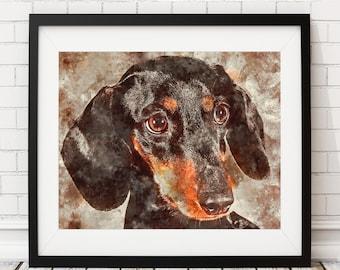 Dachshund Watercolor Print, Dog Print, Watercolor Art, Dachshund Painting, Watercolor Dog Painting, Poster, Dog Lover Gift, Dachshund Art