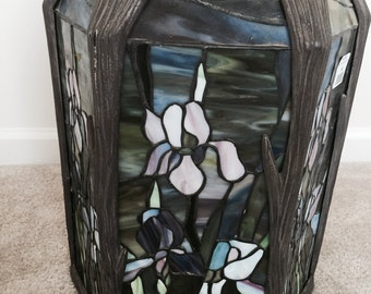 Stained Glass Iris Pendant Light