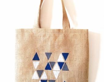 Tote bag burlap ground geometric blue