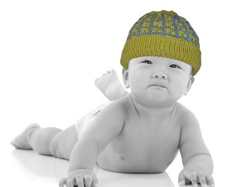 Adorable Green & Blue Patterned Hand Knit Baby Hat - Boy 0 to 3 Months