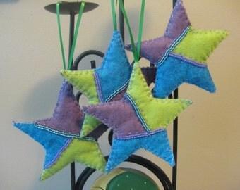 Blue, Green and Purple Felt Christmas Star Ornament