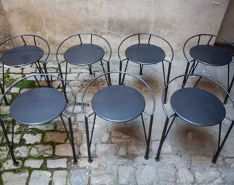 6 + 1 stool Pascal Mourgue vintage silver Moon