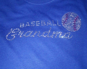 Baseball Grandma Rhinestone T shirts