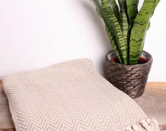 Zig Zag Throw Blanket Hand Loomed Eco Friendly Cotton Beige