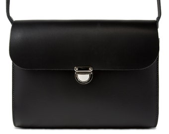 Black Leather Crossbody/Shoulder Bag made in London