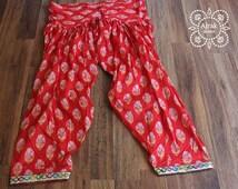 Harem Pants, Red Pants, Drop Crotch, Aladdin Pants, Maxi Pants, Gypsy Pants, Boho Pants, Genie Jumpsuits, Bohemian, Cotton Pants, Wide Leg