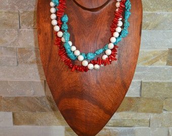 3 tier coral, turquoise and necklace