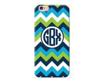 iPhone 8 Case, iPhone 8 Plus Case, iPhone X Case, iPhone 7 Case, iPhone 6 case, Monogram blue chevron personalized iphone case, clear case