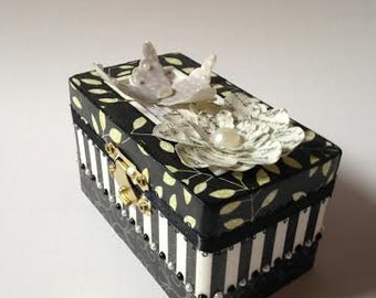 Black and White Butterfly Trinket Box