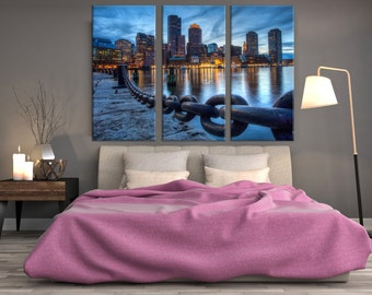 Boston Skyline Harbour, Boston Canvas, Wall canvas, 3 panels canvas, INTRODUCTORY PRICES Boston Color Canvas Art Print,