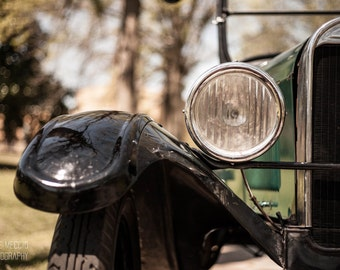 Vintage Ford II: WALL ART Fine Art Photography Vintage Classic Ford Automobile Car Elegant Silver Green Bokeh Soft Light