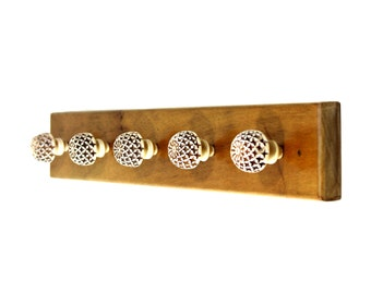 Wooden Hook Rack with Hand Carved Resin Knobs