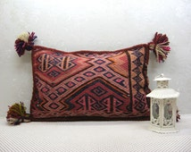 Hand embroidered kilim Rug pillow kilim pillow cover, Boho Traditional Hand Woven & Hand stitching, Both faces are kilim,