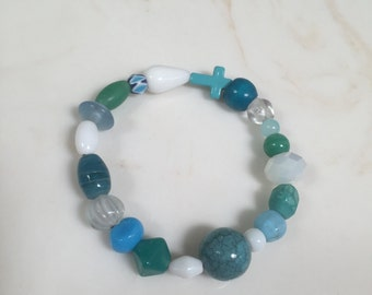 White & turquoise cross stretchy bracelet