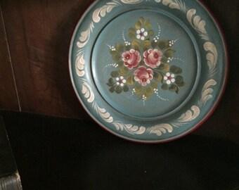 Bavarian Tole Art Wooden Plate