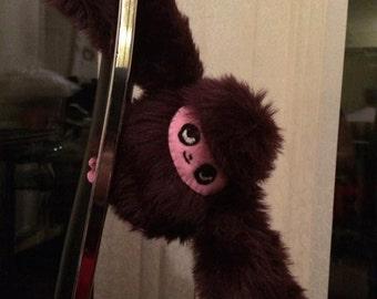 Fur sloth plush toy, embroidered, cute stuffed animal handmade, made to order custom designs