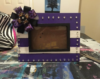 Purple Cheetah Picture Frame_4x6 Picture Frame_Purple Picture Frame_Cheetah Picture Frame_Bow_Hand Painted Picture Frame_Hand Made Frame