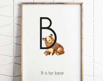 bear printable, bear art, printable nursery art, gender neutral nursery art, nursery bear art, instant printable art decor