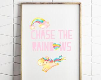 rainbow and unicorn print, rainbow wall art, childrens room decor, kids room decor, download poster