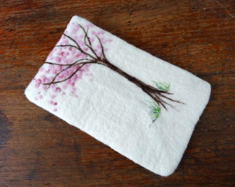 Gadget Cover - Felted Kindle Cover - Cherry Blossom Design
