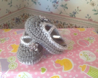Dk grey and lt grey crocheted Mary Jane booties