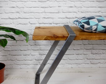 Scottish Elm And Steel Distressed Bench - Modern Industrial Chic, Rustic
