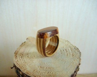 Wooden Ring Birch Plywood and Marblewood Size 7