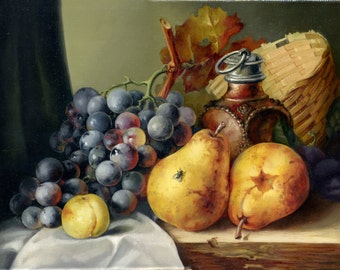 Colourful Painting, Oil on canvas, Fruits, Still life - Grapes and two pears