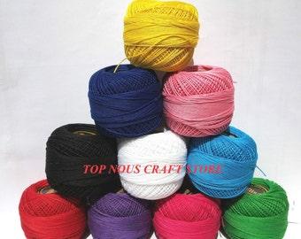 10 x 20 grams Lace Making Mercerized Cotton Yarn Tatting Thread Size 20