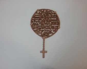 Decorative carved outline of the Rosary 12 inches high with Hail Mary prayer carved inside the Rosary