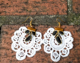 White Lace Floral Earrings, Black and White Lace Earrings, Lace Earrings, Statement Earrings