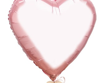 The Flower Rooms - Baby Pink Heart Balloon - Add On Item - Send With Your Flowers - Metallic Baby Pink Heart Shaped Balloon