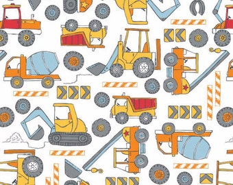 FLANNEL Construction Zone Trucks White Fabric From Camelot