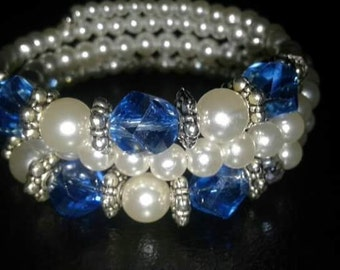Pearl & Sapphire Crystal Necklace and Bracelet Set
