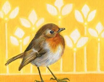 European Robin Print, bird art