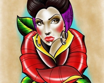 Neo Traditional Chola/ Pin Up/ Tattoo Flash