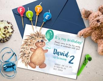 Kids birthday invitation. Watercolor boy birthday invite. Kids party invitation.
