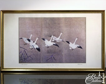 Vintage Japanese Art Print. Wild Geese. Gold effect and gold frame.