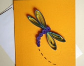 Handmade Quilled Dragonfly Greeting Card, Blank Inside