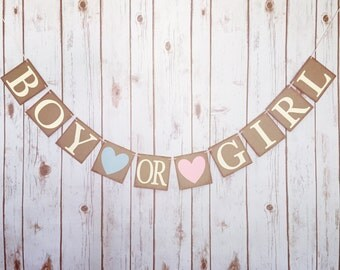 Gender reveal banner, gender reveal baby shower banner, boy or girl banner, boy or girl sign, rustic gender reveal,gender reveal decor