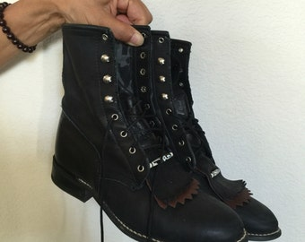 Vintage Black Lacers Beaded Boots 8